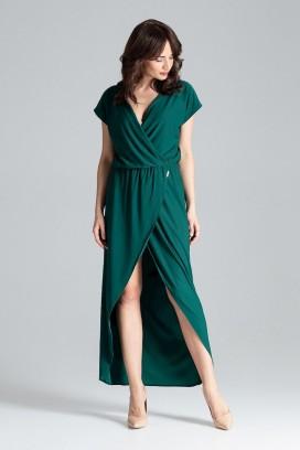 Dlhé zelené maxišaty s prekladaným dekoltom a sukňou model 130950 lf