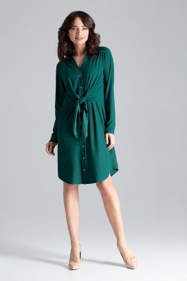 Krátke zelené košeľové šaty so zväzovaním a dlhými rukávmi model 130957 lf