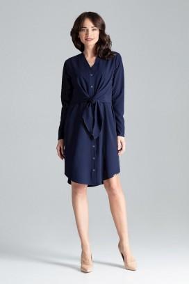 Krátke tmavomodré košeľové šaty so zväzovaním a dlhými rukávmi model 130958 lf