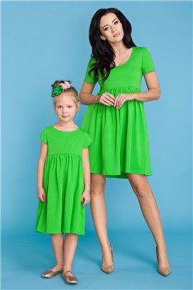 MMM14-1 Zelené šaty s volánovou sukňou - mama