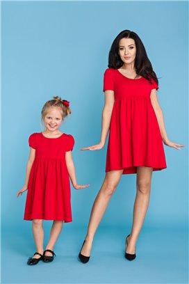 MMM14-4 Červené šaty s volánovou sukňou - mama