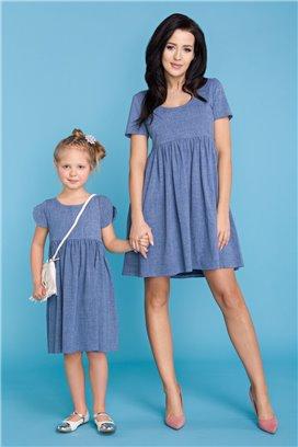 MMD14-3 Modré šaty s volánovou sukňou - dcérka