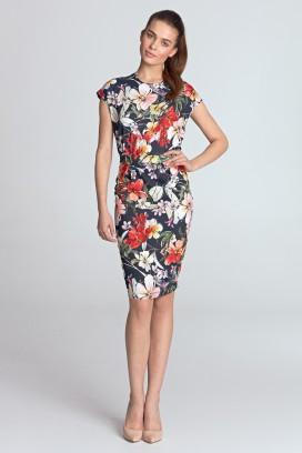 Krátke tmavomodré púzdrové šaty a kvetinami model 131093 ne