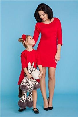 MMD16-4 Elegantné červené šaty s volánikmi - dcérka