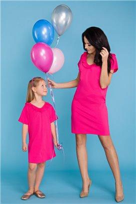 MMM17-4 Ružové tričkové šaty s volánikom - mama