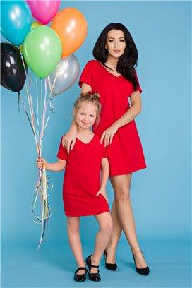 MMD18-2 Červené tričkové šaty - dcérka