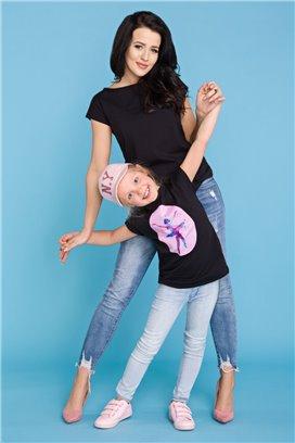 MMD20-4 Čierne tričko s motívom baletky - dcérka