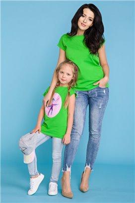 MMD20-1 Zelené tričko s motívom baletky - dcérka
