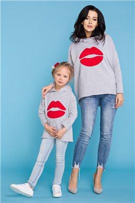 MMD22-1 Šedá mikina Kiss - dcérka
