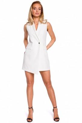 Krátke biele sakové šaty bez rukávov model 131520 mE