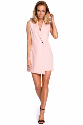 Krátke ružové sakové šaty bez rukávov model 131521 mE
