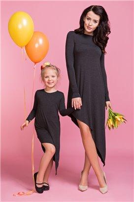 Asymetrické šaty čierne - mama