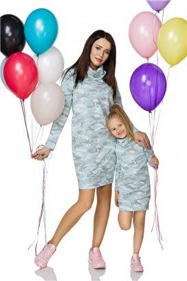 Maskáčové šaty modré - dcérka