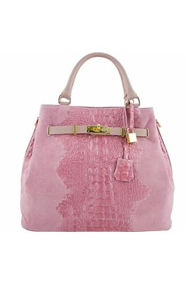 SKLADOM Kožená kabelka MADE IN ITALY- ružová