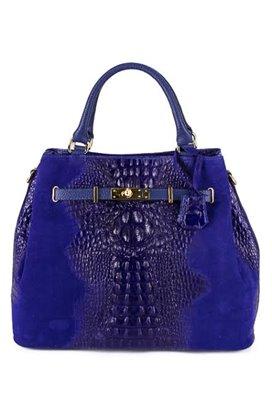 SKLADOM Kožená kabelka MADE IN ITALY - modrá