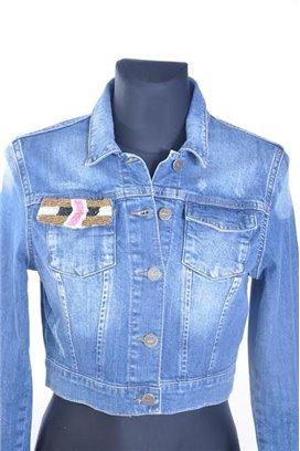 Jeansová bunda s aplikáciou