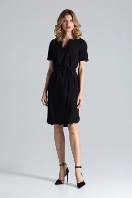 Krátke čierne púzdrové šaty s opaskom model 132463 fl