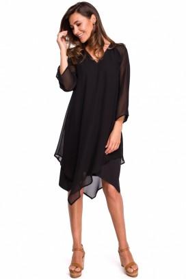 Krátke čierne asymetrické šaty s 3/4 rukávom model 132590 ME