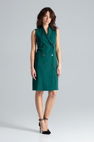 Krátke zelené sakové šaty bez rukávov model 133215 lf