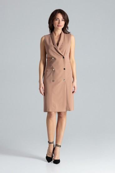 Krátke béžové sakové šaty bez rukávov model 133216 lf