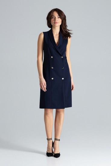Krátke tmavomodré sakové šaty bez rukávov model 133217 lf