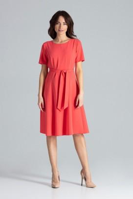 Červené midišaty s kruhovou sukňou a opaskom model 133218 lf
