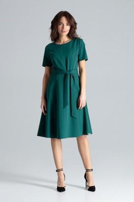Zelené midišaty s kruhovou sukňou a opaskom model 133219 lf