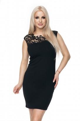 Krátke čierne púzdrové šaty s čiernou čipkou model 133359 Pb