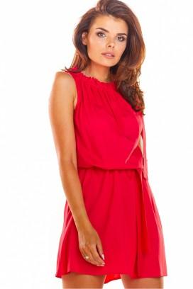 Krátke červené šaty bez rukávov model 133638 aa