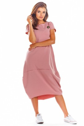 Ružové športové voľné midišaty s krátkymi rukávmi model 133589 iy
