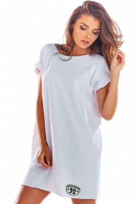 Krátke biele voľné športové šaty s krátkymi rukávmi model 133713 iy