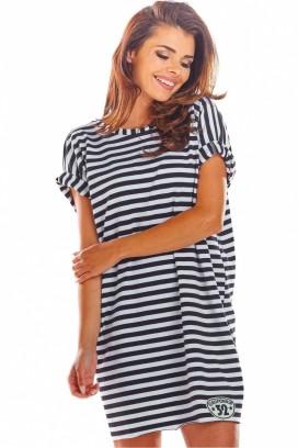 Krátke čierne-biele voľné športové šaty s krátkymi rukávmi model 133715 iy
