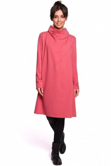 Krátke ružové voľné šaty s rolákom a dlhými rukávmi model 134534 BE
