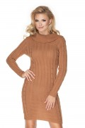 Krátke béžové úpletové šaty model 134590 Pb