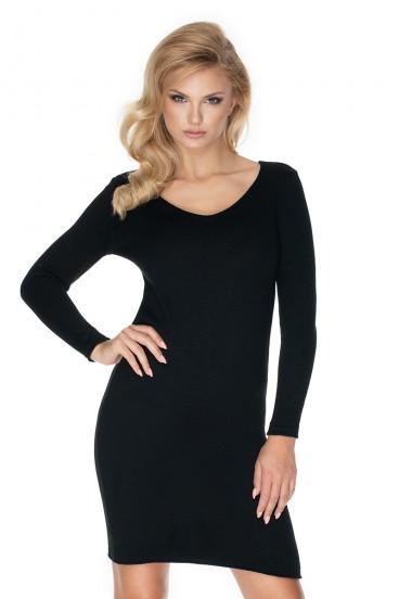 Čierne úpletové šaty a výstrihom model 134595 Pb