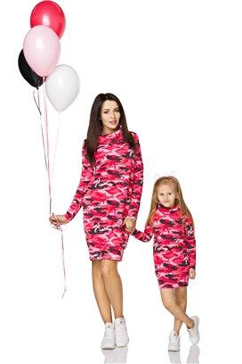 Rolákové šaty ružové maskáčové - mama