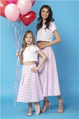 Bielo-ružová vzorovaná midisukňa - dcérka 35-5