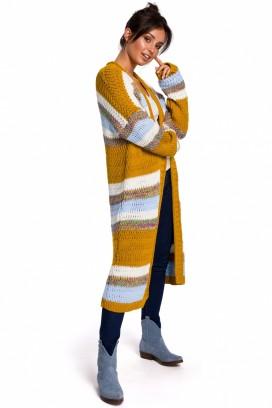 Dlhý viacfarebný pásikavý sveter model 134724 BEK