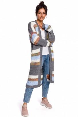 Dlhý viacfarebný pásikavý sveter model 134727 BEK
