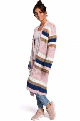 Dlhý viacfarebný pásikavý sveter model 134728 BEK