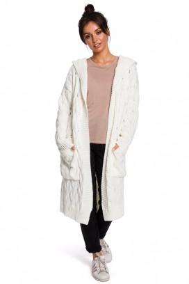 Dlhý smotanový sveter s kapucňou a vreckami model 134736 BEK