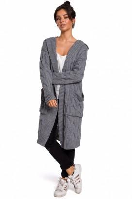Dlhý šedý sveter s kapucňou a vreckami model 134738 BEK