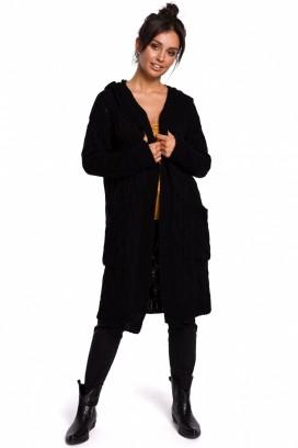 Dlhý čierny sveter s kapucňou a vreckami model 134739 BEK