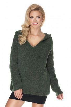 Šedý sveter s kapucňou model 135298 Pb