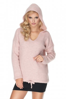 Ružový sveter s kapucňou model 135299 Pb