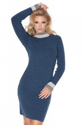 Modrošedé úzke rolákové pletené šaty model 135300 Pb