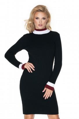 Čierne úzke rolákové pletené šaty model 135301 Pb