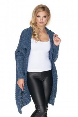Dlhý modrý melírovaný sveter model 135302 pb