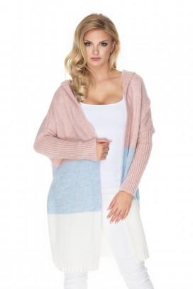 Dlhý viacfarebný pásikavý sveter s kapucňou model 135305 pb