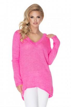 Ružový voľný sveter s hlbokým výstrihom model 135308 Pb